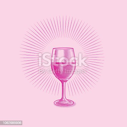 Engraved illustration of a Glass of wine