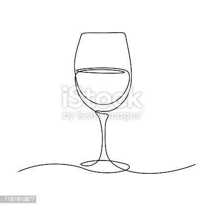Glass of wine in continuous line art drawing style. Minimalist black line sketch on white background. Vector illustration