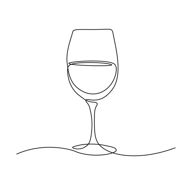Glass of wine Glass of wine in continuous line art drawing style. Minimalist black line sketch on white background. Vector illustration single object stock illustrations