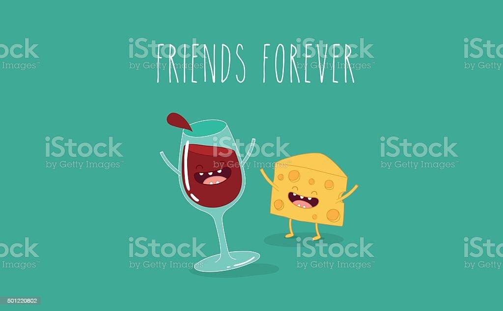 Glass of wine vector art illustration