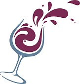 Splashes of wine from glass