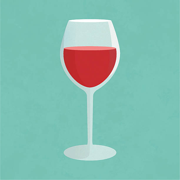 Glass of wine Glass of red wine. Simplistic vector illustration. Wineglass. Detail for web and print design.  wineglass stock illustrations