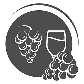 Glass of wine with grapes solid icon, Wine festival concept, grapes with leaves and wine glass sign on white background, winery emblem icon in glyph style for mobile, web. Vector graphics