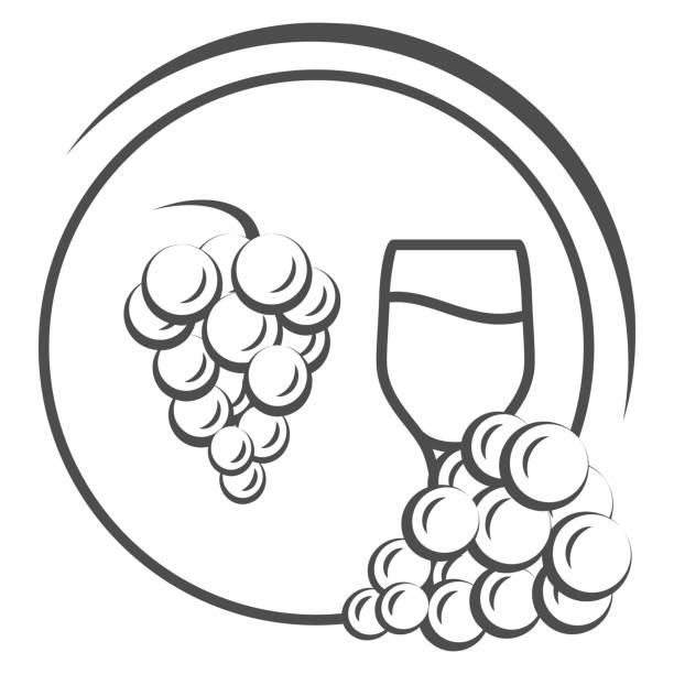 Glass of wine with grapes thin line icon, Wine festival concept, grapes with leaves and wine glass sign on white background, winery emblem icon in outline style for mobile, web. Vector graphics. Glass of wine with grapes thin line icon, Wine festival concept, grapes with leaves and wine glass sign on white background, winery emblem icon in outline style for mobile, web. Vector graphics alcohol drink borders stock illustrations
