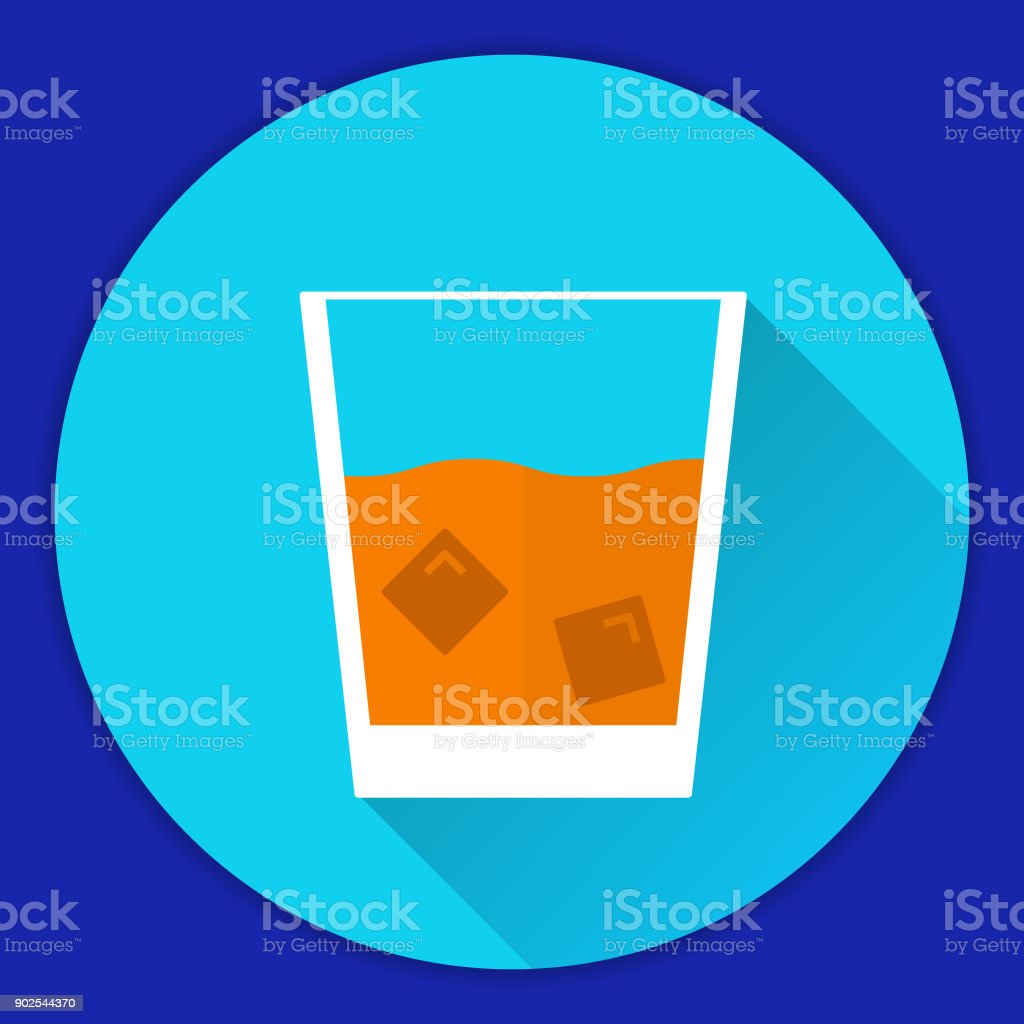 Glass Old Fashioned scotch whisky with ice cubes alcohol drink.whiskey on the rocks.Single malt whisky.Flat a vector an icon with a shadow. vector art illustration