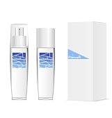 Two transparent cosmetic bottles and white packaging. Original modern design. Vector