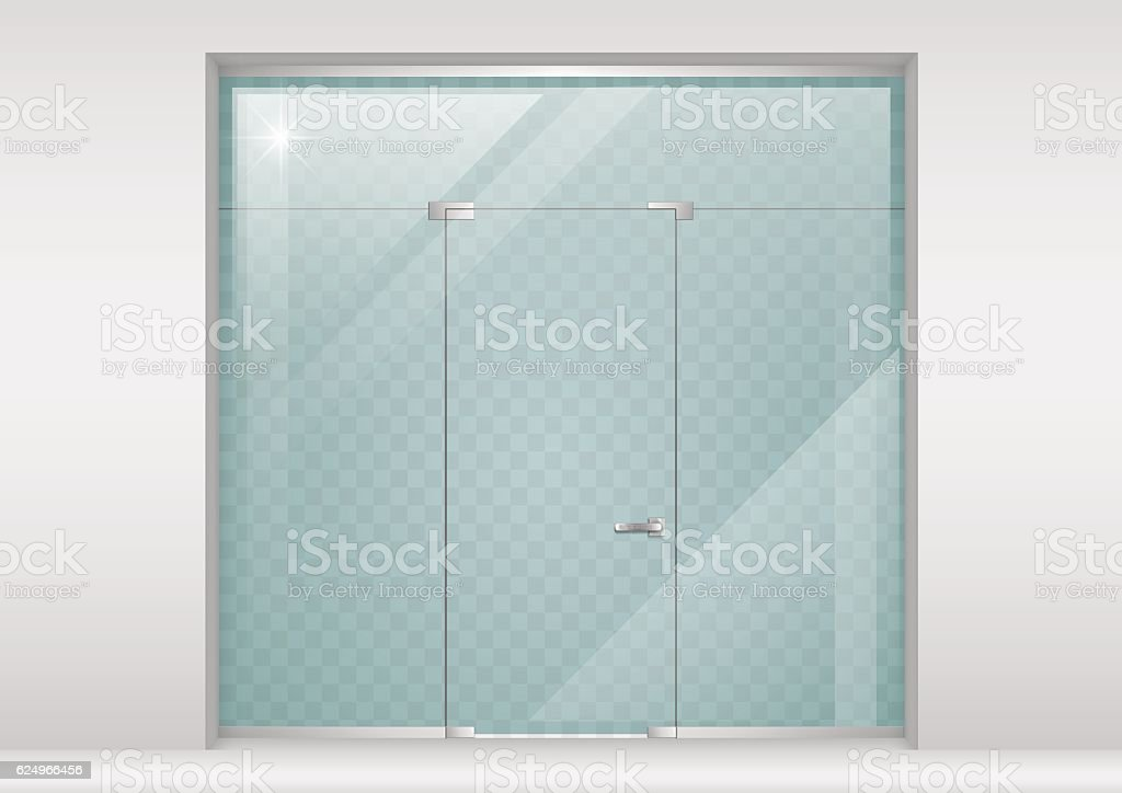 Glass Partition with a door. vector art illustration