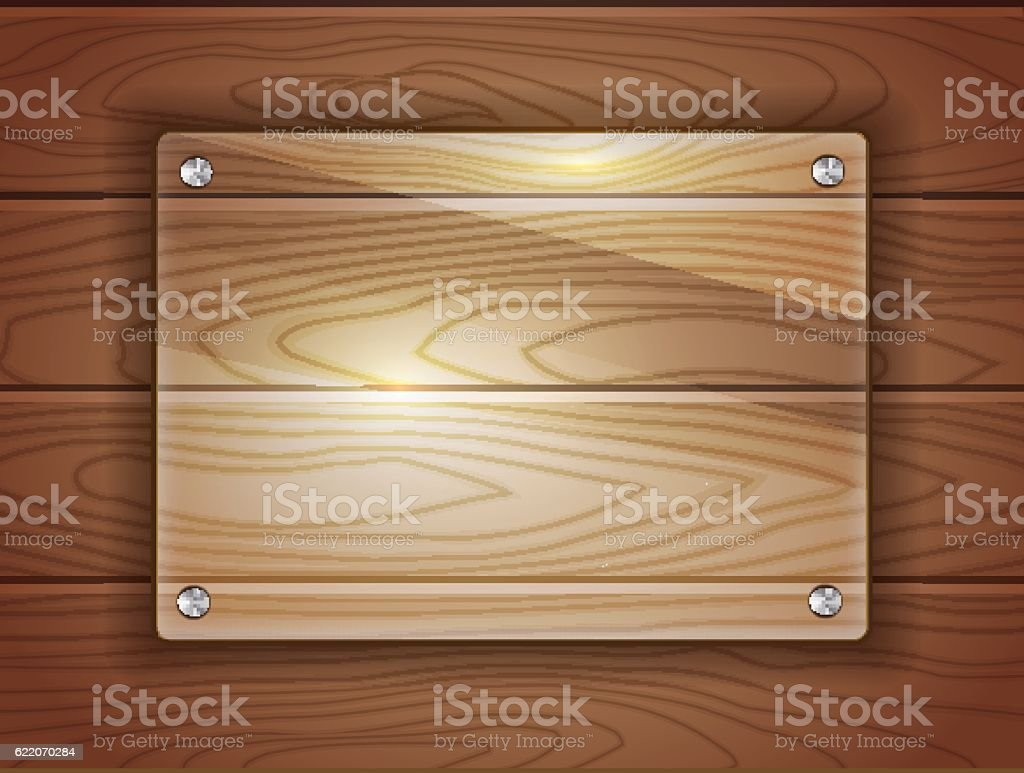 Glass plaque on wood vector art illustration