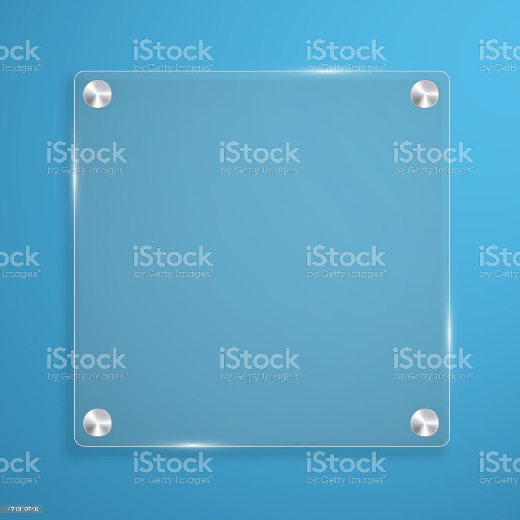 Glass plate background with rivets for text. vector art illustration