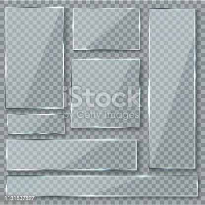 Glass plate. Glass texture effect window plastic clear transparent banners plates acrylic glossy signs vector isolated set