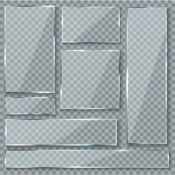 Glass plate. Glass texture effect window plastic clear transparent banners plates acrylic glossy signs vector set Glass plate. Glass texture effect window plastic clear transparent banners plates acrylic glossy signs vector isolated set glass material stock illustrations
