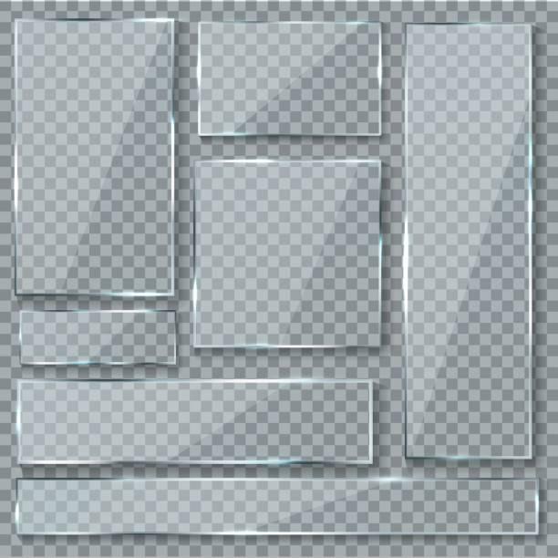 bildbanksillustrationer, clip art samt tecknat material och ikoner med glas skiva. glas textur effekt fönster plast klar transparent banners plattor akryl glänsande skyltar vektor set - glas