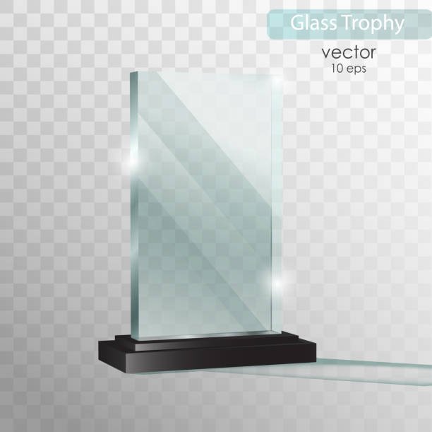 glass plate. glass trophy award. vector illustration isolated on transparent background. realistic 3d design. realistic vector transparent object 10 eps. - acrylic painting stock illustrations
