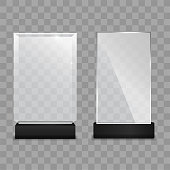 Glass plate. Glass Trophy Award isolated on transparent background.