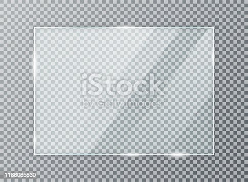 istock Glass plate on transparent background. Acrylic and glass texture with glares and light. Realistic transparent glass window in rectangle frame 1166085830
