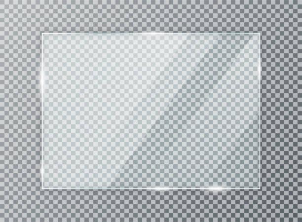 стеклянная пластина на прозрачном фоне. акриловая и стеклянная текстура с бликами и светом. реалистичное прозрачное стеклянное окно в прям - блестящий stock illustrations