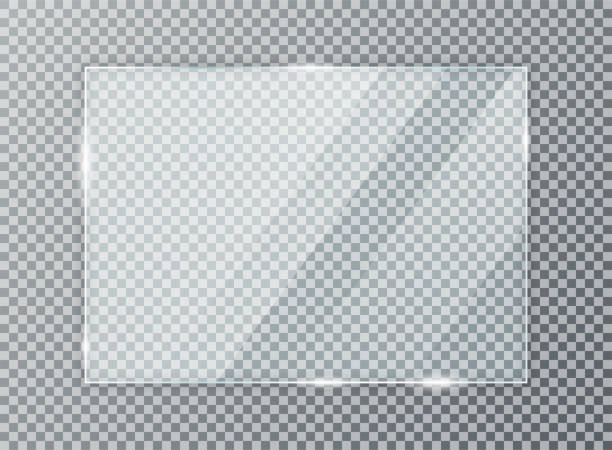 ilustrações de stock, clip art, desenhos animados e ícones de glass plate on transparent background. acrylic and glass texture with glares and light. realistic transparent glass window in rectangle frame - janela