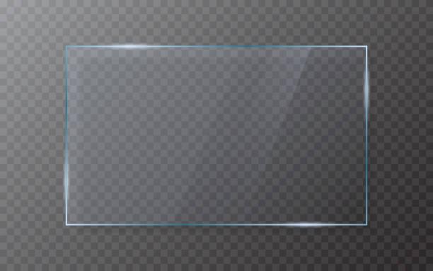 bildbanksillustrationer, clip art samt tecknat material och ikoner med glasskiva på transparent bakgrund. realistiskt glas med skugga. 3d-fönster effekt med flare. isolerat genomskinligt blad. akryl skärm mall. glänsande ram. vektor illustration - glas