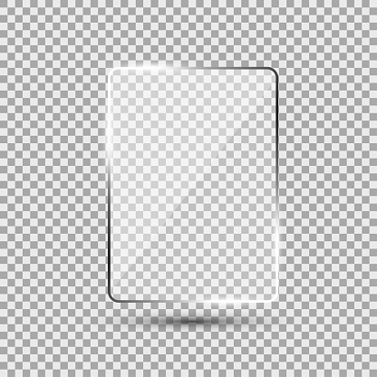 Glass plate on transparent background