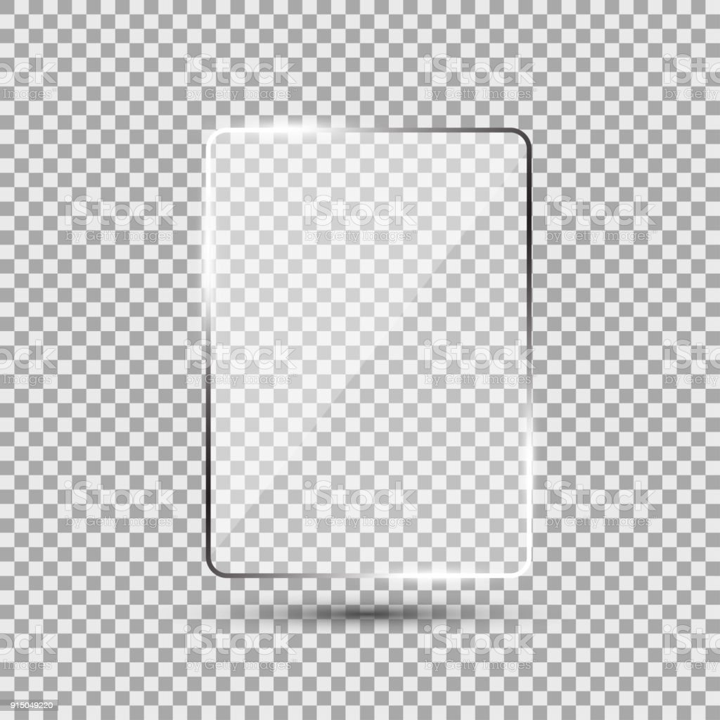 Glass plate on transparent background vector art illustration