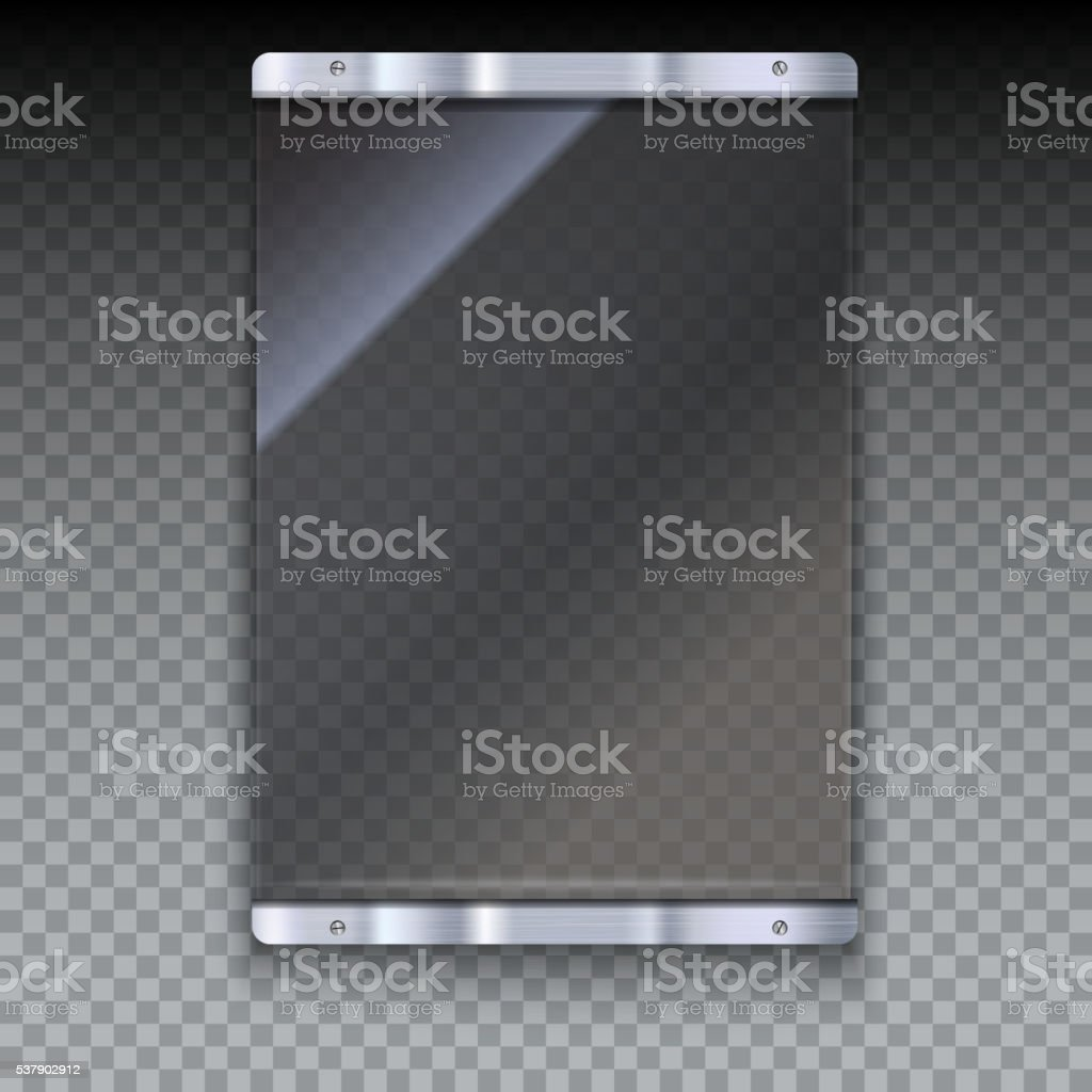 Glass plate with metal frame vector art illustration