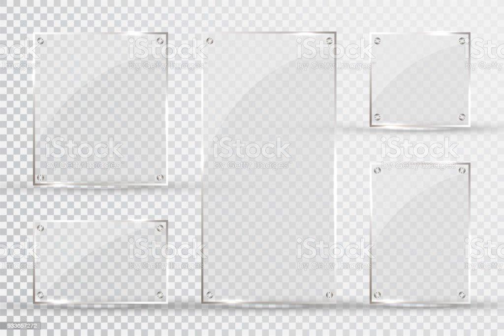 Glasplatten Werden Installiert Vektorglasbanner Auf Einem ...