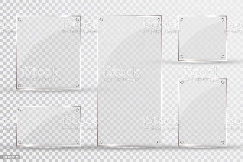 Glass plates are installed. Vector glass banners on a transparent background. Glass. Glass paintings. Color frames vector art illustration