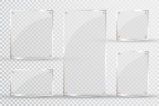 glass plates are installed. vector glass banners on a transparent background. glass. glass paintings. color frames - acrylic painting stock illustrations