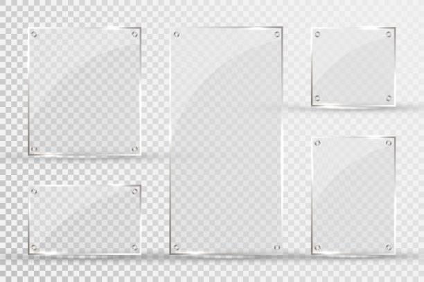 bildbanksillustrationer, clip art samt tecknat material och ikoner med glas tallrikar är installerade. vector glas banners på en transparent bakgrund. glas. glasmålningar. färg ramar - glas