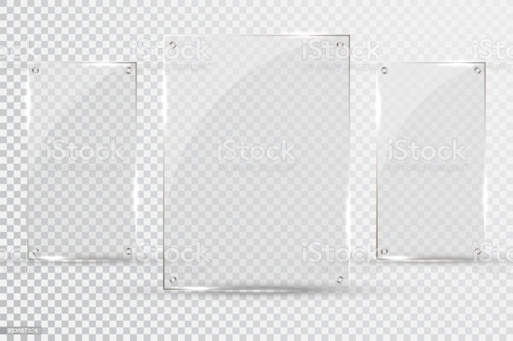 Glass Plates Are Installed Vector Glass Banners On A Transparent ...