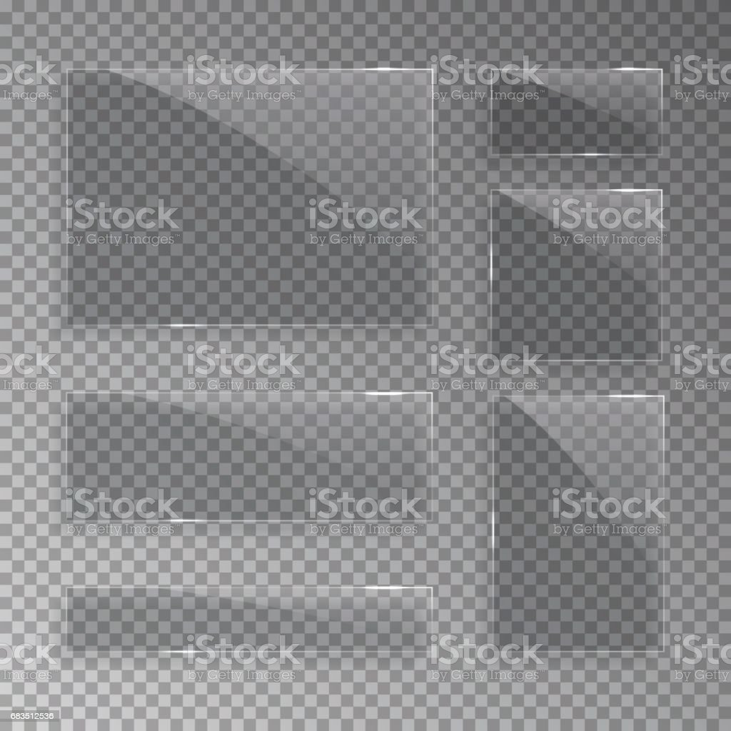 Glass plates isolated on transparent background. Vector realistic illustration. vector art illustration