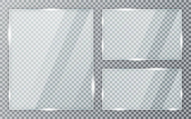 стеклянные пластины, установленные на прозрачном фоне. акриловая и стеклянная текстура с бликами и светом. реалистичное прозрачное стекля� - блестящий stock illustrations