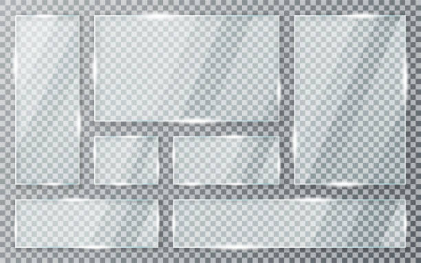 Glass plates set on transparent background. Acrylic and glass texture with glares and light. Realistic transparent glass window in rectangle frame vector art illustration