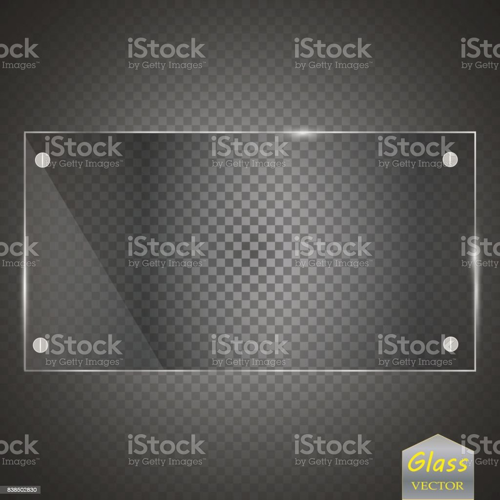 Glass plates set. Vector glass banners on transparent background vector art illustration