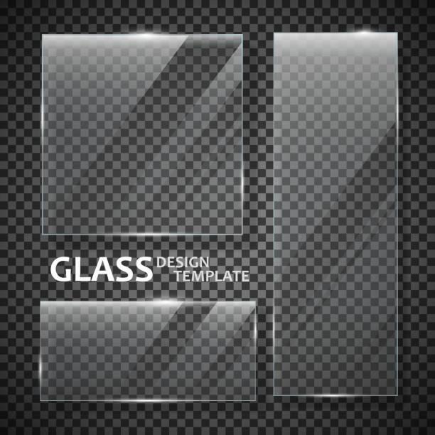 stockillustraties, clipart, cartoons en iconen met platen glazenset - glas materiaal