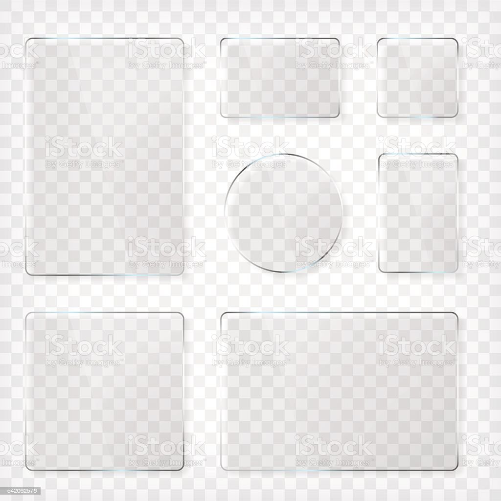 Glass plates set vector art illustration