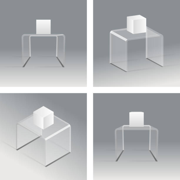 glass rack podium shelf set 3d isometric realistic design vector - kastenständer stock-grafiken, -clipart, -cartoons und -symbole