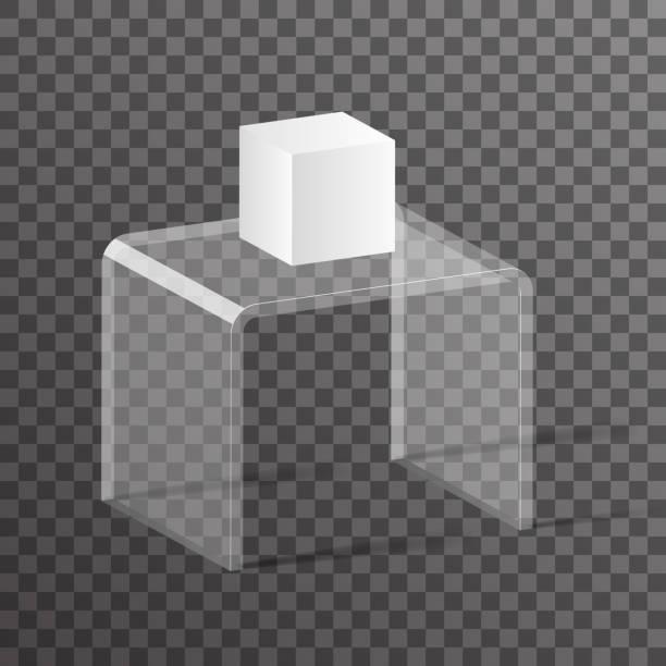 glas rack regal podium 3d isometrische realistisches design vektor-illustration - kastenständer stock-grafiken, -clipart, -cartoons und -symbole