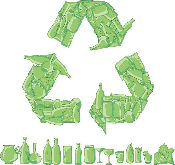 glas-recycling - altglas stock-grafiken, -clipart, -cartoons und -symbole