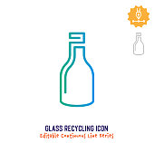 istock Glass Recycling Continuous Line Editable Icon 1250000196