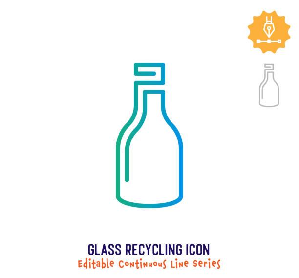 glas recycling kontinuierliche linie editierbare symbol - altglas stock-grafiken, -clipart, -cartoons und -symbole