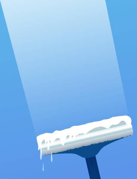 illustrations, cliparts, dessins animés et icônes de grattoir de verre pour le lavage de fenêtre. nettoyage de vitres. - raclette