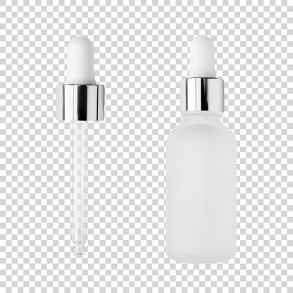 Glass serum bottle and pipette for cosmetic products design mockup isolated on white background realistic vector illustration