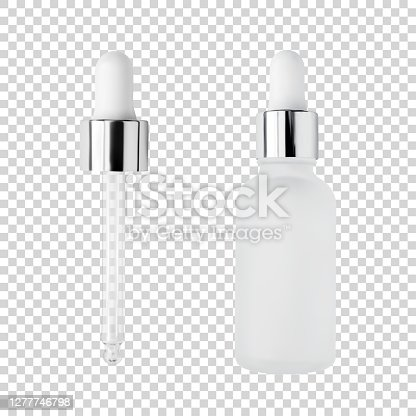 istock Glass serum bottle and pipette for cosmetic products design mockup isolated on white background realistic vector illustration 1277746798