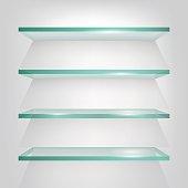 Glass shelves on light grey background. Vector eps10 illustration