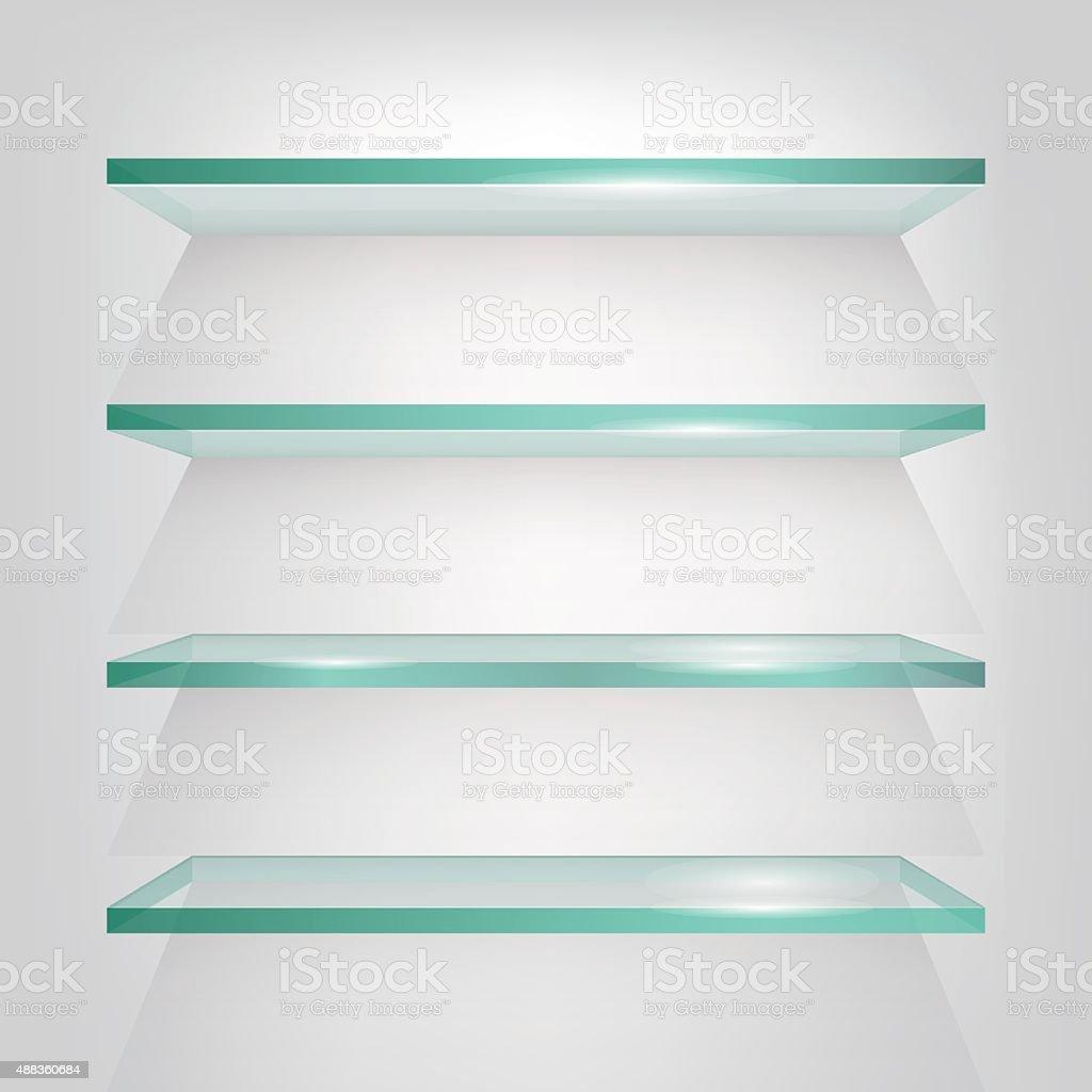 Glass shelves on light grey background. Vector eps10 illustration vector art illustration