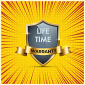 Glass shield with golden frames and ribbon with Life Time warranty texts. Vector warranty shield on pop art or manga style background