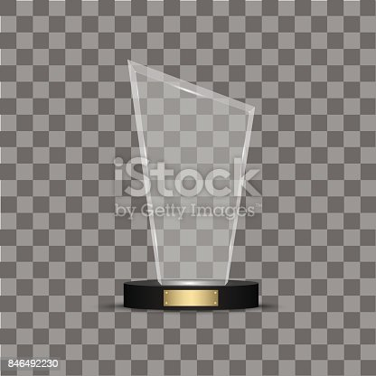 Glass shining trophy. Isolated on black transparent background. Vector illustration.