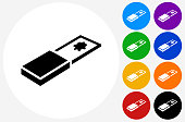 Glass Slide Icon on Flat Color Circle Buttons. This 100% royalty free vector illustration features the main icon pictured in black inside a white circle. The alternative color options in blue, green, yellow, red, purple, indigo, orange and black are on the right of the icon and are arranged in two vertical columns.
