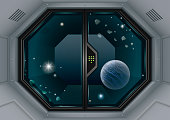 Glass sliding gates lab or space station. Fantastic interior. Vector graphics with transparency effects